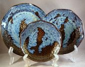 Stoneware Plates - set of 3 - Cloudy Nights - Free Shipping