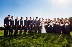 The wedding party on top of the rolling hills at Taltree Arboretum in Valparaiso, Indiana.