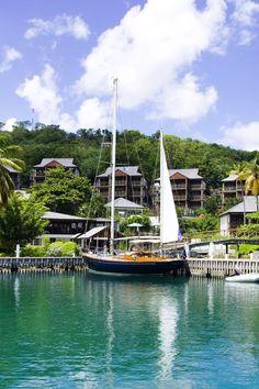 At Capella Marigot Bay resort & Marina, St Lucia. By Hotelied.