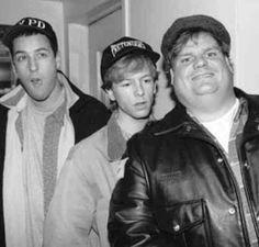 Adam Sandler David Spade and Chris Farley. Mid 1990s