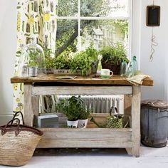 indoor plant table with farmhouse rustic table : Decorating Your Home With Indoor Plant Table. indoor plants,inside plant table,plant table for interiors,plant table indoor,plant tables Herb Garden In Kitchen, Diy Herb Garden, Kitchen Herbs, Garden Ideas, Backyard Ideas, Herbs Garden, Edible Garden, Kitchen Tips, Plant Table