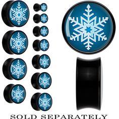 Black Acrylic Blue Holiday Snowflake Saddle Plug | Body Candy Body Jewelry