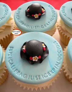 Supercalifragilisticexpialidocious!! Mary Poppins inspired cupcakes. Created by Sweet Fusion Cakes, located in Hertfordshire, UK.