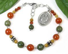 St. Francis of Assisi Chaplet Bracelet, Adjustable, Spiritual Religious Jewelry, Catholic Prayer Beads, Italian Medal, Meditation Aid, Niner