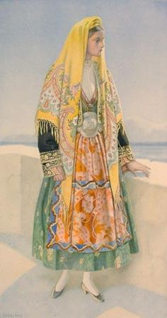 Traditional festive costume from the island of Thasos (northern Greece)…