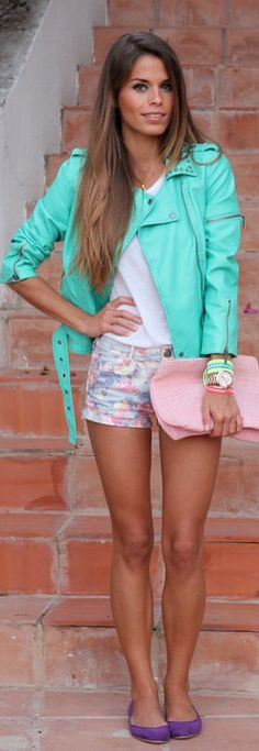 Street Style Mint Leather Jacket; i wd wear skirt rather than shorts