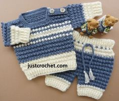 Boys Crochet Sweater Pants Set/ intermediate / FREE CROCHET pattern / won't he look handsome in this./ 3 to 6 mos.