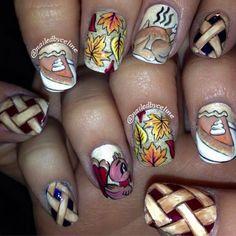 Thanksgiving Nail Art Designs, Thanksgiving Nail Designs, Holiday Nail Designs, Thanksgiving Nails, Creative Nail Designs, Short Nail Designs, Creative Nails, Holiday Nails, Nail Art Designs, Fall Nails