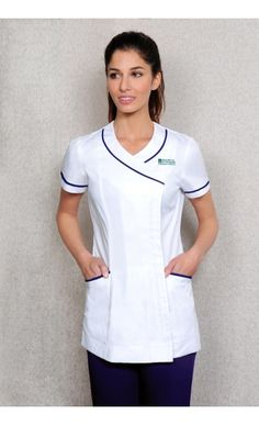 Mandarin style stylish beauty tunics buttoned to the side with diamante buttons. Many colours available online from Diamond Designs. Spa Uniform, Scrubs Uniform, Uniform Dress, Dental Uniforms, Healthcare Uniforms, Nursing Uniforms, Nursing Tunic, Nursing Shoes, Beauty Tunics
