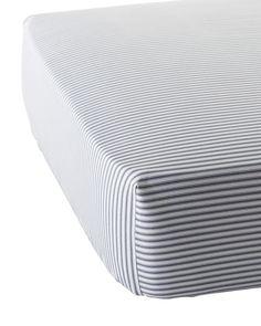 Ticking Stripe Crib Sheet - Crib Sheets   Serena and Lily
