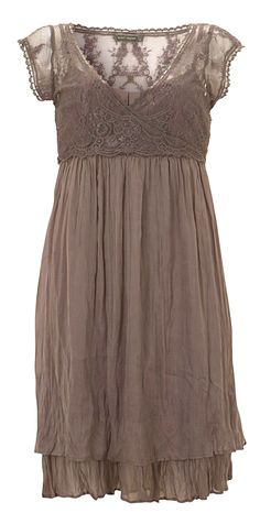 Super cute dress. I love the lacy wrap-around top with the flowy cotton skirt.
