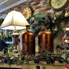 Vintage look copper Mercury glass bottles