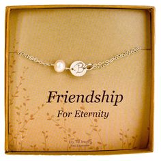 Personalized Bridesmaid Initial Bracelet, Sterling Silver Monogram Cultured Pearl Gift >> Awesome jewelry. Click the image : jewellery