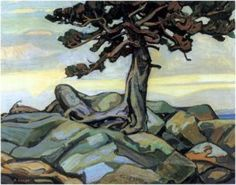 Arthur Lismer Pine Tree and Rocks, 1921 Group of Seven Canadian Art, Landscape Paintings, Group Of Seven Paintings, Artist Inspiration, Seventh, Painting, Art, Canadian Painters, Landscape Art