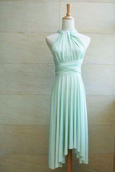 Bridesmaid Dress Infinity Dress Mint Knee Length Wrap Convertible Dress Wedding Dress. $35.00, via Etsy.