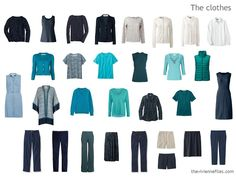 capsule wardrobe in navy, teal, and turquoise