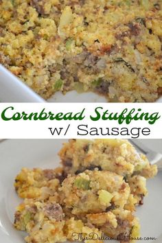 Traditional Cornbread Stuffing with Sausage and Apple is a tasty make-ahead side dish for dinner. #cornbreadstuffing #cornbreaddressing Barbecue Recipes, Grilling Recipes, Crockpot Recipes, Cooking Recipes, Bread Recipes, Bbq, Easy Brunch Recipes, Easy Holiday Recipes, Christmas Recipes