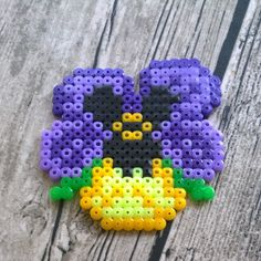 Pansy flower hama beads by pys82