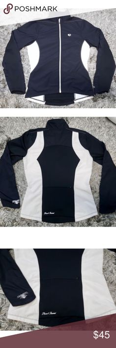 """Pearl Izumi Cycling Jacket Black & White Full Zip Pearl Izumi for Women Select cycling jacket  Women's Small  Black and white Front full zipper closure Zippered pocket in back  Style # 11231214  Approximate measurements Chest: 36"""" Waist: 31"""" Hem: 37"""" Inseam: 14.5"""" Length: 25"""" Pearl Izumi Jackets & Coats"""