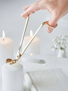 An essential, sleek accessory for any candle. An elegant gold wick trimmer, designed to keep your candles neatly trimmed and ready to light for optimum burning. Gift-boxed, it is a great little gift. Homemade Candles, Diy Candles, Scented Candles, Candle Wick Trimmer, Candle Packaging, Candle Branding, Candle Snuffer, Candle Accessories, Diy Candle Holders