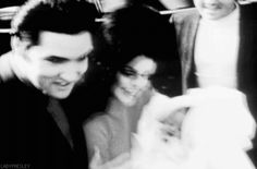 Elvis and Priscilla Presley welcome home five-day-old Lisa Marie to Graceland, February 5, 1968.