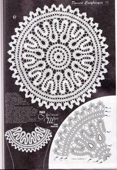 "Photo from album ""Дуплет on Yandex. Crochet Collar Pattern, Crochet Lace Collar, Crochet Doily Patterns, Crochet Doilies, Crochet Stitches, Bruges Lace, Russian Crochet, Irish Crochet, Crochet Cape"