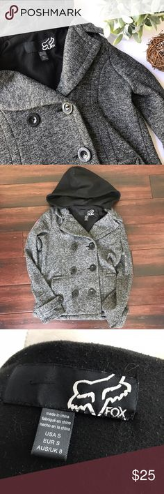 """FOX RACING Hooded Sweatshirt Peacoat - Clean and smoke free home - No holes or stains - Size Small - pit to pit measures ~17.5"""" - Back top to bottom hem measures ~22"""" - Minor pilling, but not that noticeable because of the heather gray color - Check my other listings Fox Jackets & Coats Pea Coats"""