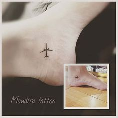 Minimal, Small, elegant... ankle airplane tattoo