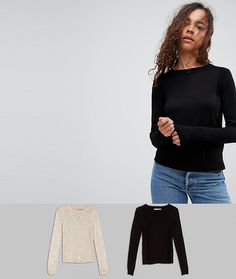 ASOS PETITE Sweater With Crew Neck And Panel Detail 2 Pack - Multi