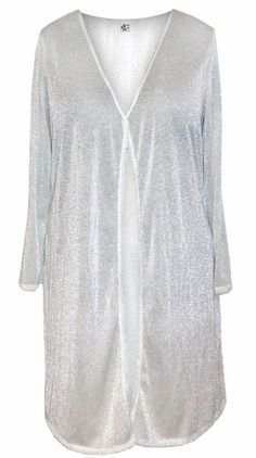 b2062e7925a5d White With Silver   White Glimmer Slinky Plus Size   Supersize Customizable  Duster Jackets
