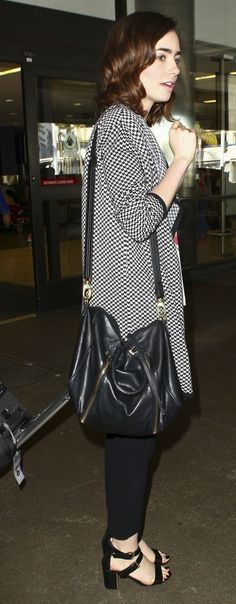 Lily Collins spotted traveling in style in her JOIE 'Yanet' Sweater