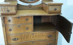 Oak Serpentine Hichest with Hat Box and Glove Boxes supporting Mirror, American Antique Oak Chest of Drawers, Bedroom Furniture, Up the Creek Antiques