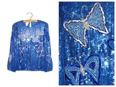 Judith Ann Creations Beaded Sequin Butterfly Blouse / by braxae