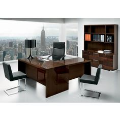 The modern design of the Pisa Executive Desk adds a stunning touch to your home office. The glossy finish of this piece is enhanced by chrome metal hardware, Walnut Canaletto-Zebrano veneers, and high-grade European polyester coating. Includes adjustable levelers and wire management cutouts.