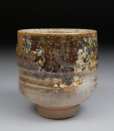 Yunomi Tea Cup glazed with shino, wood ash, copper, and rutile