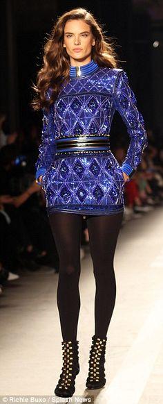 Angelic: Victoria's Secret model Alessandra Ambrosio also strutted her stuff down the runw...