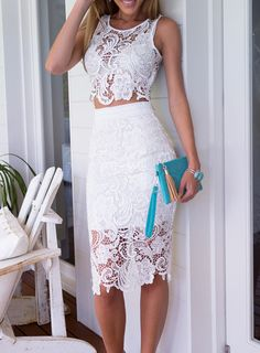 White Sleeveless Floral Crochet Top With Lace Skirt-SheIn
