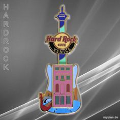 0067 - HRC Venice, Italy. Building Core Guitar. 3D venetian palace, with a channel and a red gondola in the background. Pin was issued in 2012.