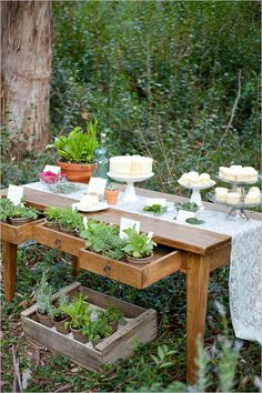 Rustic Herb Wedding Ideas using local products to create some summertime wedding inspiration. Herb Wedding, Wedding Table, Rustic Wedding, Wedding Plants, Sweet Table Decorations, Wedding Sweets, Wedding Cakes, Desert Table, Dessert Buffet