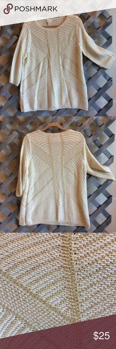 CHICOS SWEATER! PRETTY WHITE SWEATER WITH GOLD METALLIC THREADS THRU OUT!ROUND NECK/ 3/4 length sleeves! RAYON/COTTON/ACRYLIC- machine wash cold! EXCELLENT CONDITION CHICOS Sweaters Crew & Scoop Necks