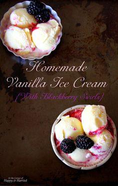 Homemade No-Churn Vanilla Ice Cream {With Blackberry Swirls} Frozen Desserts, Frozen Treats, Easy Desserts, Delicious Desserts, Dessert Recipes, Blackberry Recipes, Blackberry Sauce, Frozen Yoghurt, Yogurt