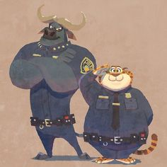 Chief Bogo and Clawhauser (by ? Zootopia Characters, Zootopia Art, Disney Memes, Disney Cartoons, Cute Disney, Disney Art, Disney And Dreamworks, Disney Pixar, Chief Bogo