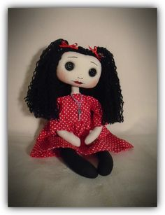 handmade unique cloth art doll by gothic moppets on facebook