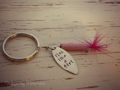 Fishing lure key chain - hand stamped - FISH LIKE A GIRL - Pink - Whispering Metalworks