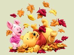 Disney Autumn Piglet and Winnie the Pooh among Leaves Wallpaper – Puzzles-Games.eu – puzzles games Disney Winnie The Pooh Wallpapers | Adorable Wallpapers
