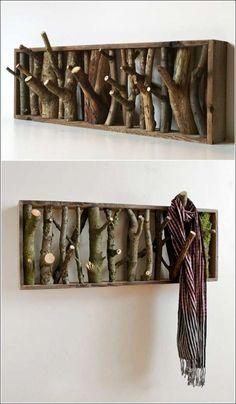 Wood log coat rack