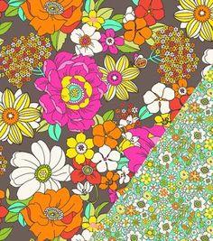 Double Face Quilt Fabric- Modern Bouquet