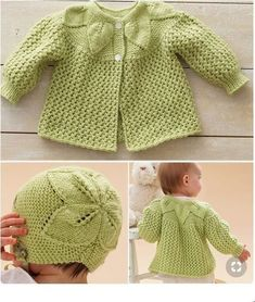Free Knitting Pattern for Leaf and Lace Baby Set - Baby layette with matching ha. - Free Knitting Pattern for Leaf and Lace Baby Set - Baby layette with matching ha. Baby Sweater Knitting Pattern, Baby Sweater Patterns, Knit Baby Sweaters, Lace Knitting Patterns, Baby Patterns, Baby Knitting Patterns Free Newborn, Baby Hats Knitting, Baby Knits, Knit Hats