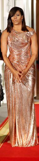 Chain mail Versace gown word by FLOUS at the Obama's last state dinner.
