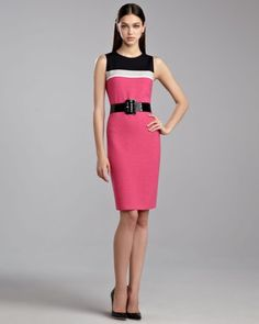 St. John - Spring 2013  Ticked Boucle Colorblock Dress & Wide Patent Belt